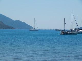 Yachting marina of Marmaris in Turkey resort town on the Aegean Sea