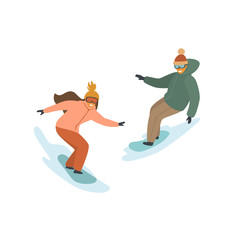 man and woman snowboarding, winter isolated vector illustration scene