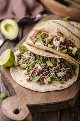 Homemade minced beef tortilla, fresh avocado and mozarella cheese