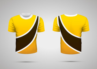 Realistic yellow sport t-shirt with black stripe from front and back on gray