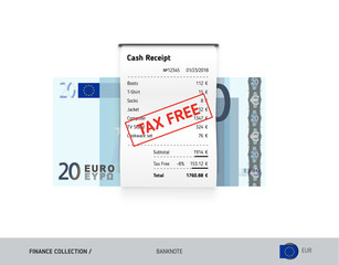 Receipt with 20 Euro Banknote. Flat style sales printed shopping paper bill with red tax free stamp. Shopping and sales concept.