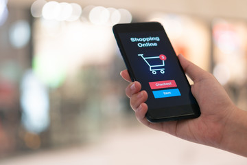 Online shopping with smartphone and shopping bags delivery service using as background shopping concept and delivery service concept with copy space  for your text or  design.