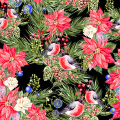 Beautiful watercolor Christmas pattern with bullfinch birds, pine cones and Christmas tree.