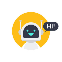 Robot icon. Bot sign design. Chatbot symbol concept. Voice support service bot. Online support bot. Vector illustration.