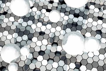 3d rendering, White hexagonal background