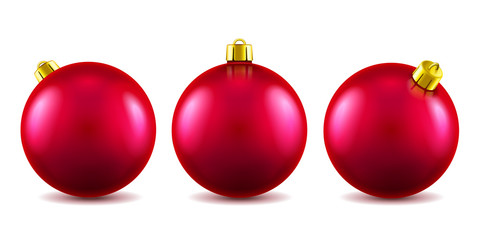 Set of isolated 3d toys for 2019 new year or realistic red baubles for ornamenting christmas tree. Volumetric Xmas spheres for holiday decoration. Winter festive and celebration theme