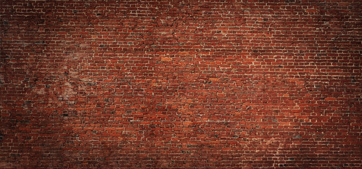 Zelfklevend Fotobehang Baksteen muur Wide angle Vintage Red brick wall Background