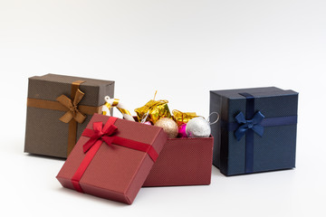 gift present box with color ribbon on white background for christmas birthday special occasion