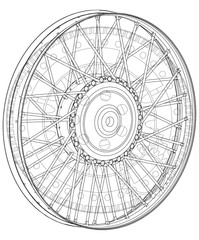 Wheel and gear mechanism on a white