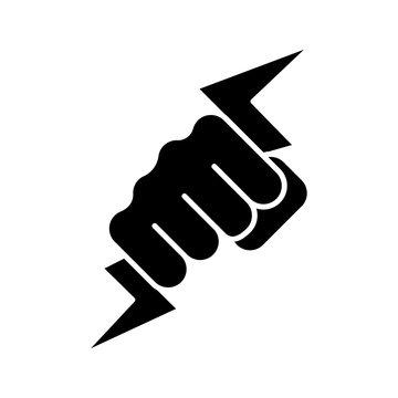 Hand holding lightning bolt glyph icon