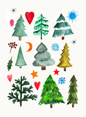 Hand painted watercolor graphic design element. Set of trees, hearts and snowflakes.