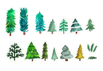 Hand painted watercolor graphic design elements. Different trees.