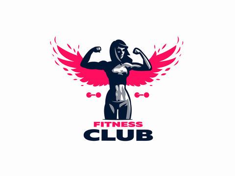 Woman fitness emblem.
