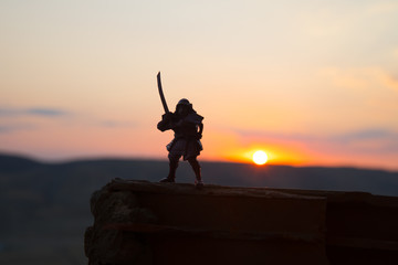 Fighter with a sword silhouette a sky ninja. Samurai on top of mountain with dark toned foggy background