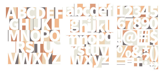 Minimal geometric art-deco font with counter shapes in soft colours isolated on white