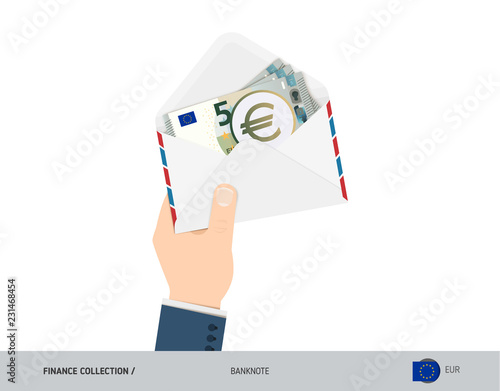 5 Euro Banknotes in envelope hold in hand  Flat style opened