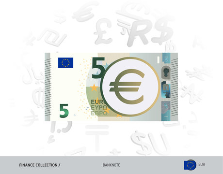 5 Euro Banknote. Flat style vector illustration isolated on currency background. Finance concept.