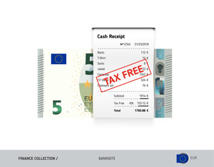 Receipt with 5 Euro Banknote. Flat style sales printed shopping paper bill with red tax free stamp. Shopping and sales concept.