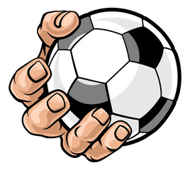 A strong hand holding a soccer football ball. Sports graphic