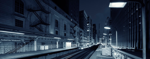Adams Wabash black and white by night