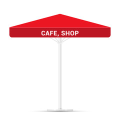 Commercial Vector Awning Series. Shop, Cafe or Restaurant Symbol. Red Square Vector Umbrella Awning Isolated on White Background. Design Element for Poster, Banner, Advertising.