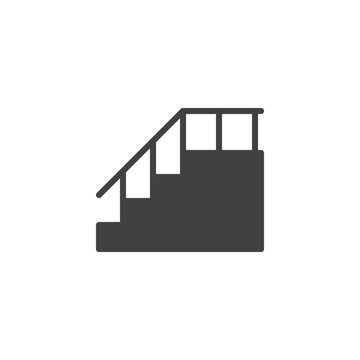 Stairs with handrail vector icon. filled flat sign for mobile concept and web design. Staircase solid icon. Symbol, logo illustration. Pixel perfect vector graphics