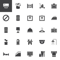 Hotel service vector icons set, modern solid symbol collection, filled style pictogram pack. Signs, logo illustration. Set includes icons as Liquid soap, Bunk bed, Not disturb hanger, Single bed, Bell