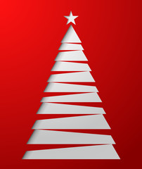 Paper white christmas tree. Vector illustratoin.