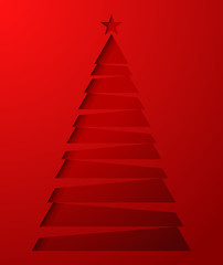 Paper red christmas tree. Vector illustratoin.