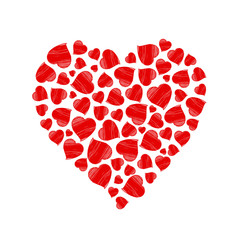 Heart made of hand drawn red hearts. Vector heart illustration isolated on white background.
