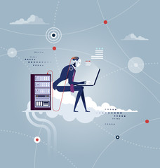 Cloud Networking. Robot sits on a cloud with laptop on his knees - Artificial intelligence Concept vector