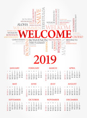 Calendar for 2019 year, WELCOME word cloud in different languages, conceptual background