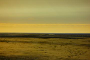 Papiers peints Orange coucher de soleil sur la baie de somme depuis le hourdel en picardie