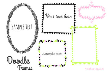 Vector doodle frames collection