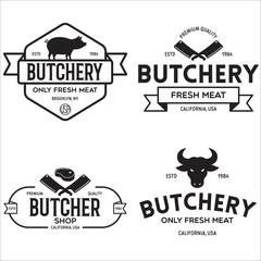 Butcher shop labels badges emblems set. Butchery store advertising design elements collection. Meat shop typography.