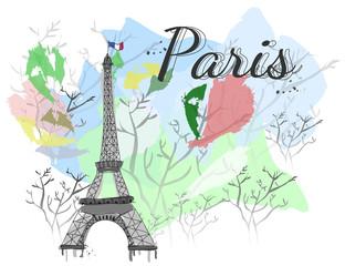 Paris watercolor vector card