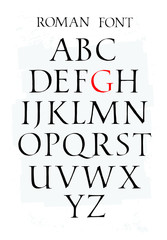 Set of classic roman font. Vector. Capital letters. Uneven ancient font. Letters symbols for the design of a poster, flyer or presentation. Signs for the logo. All letters are separate.