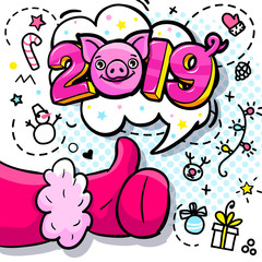 Pig is a symbol of 2019 new year. Santa Claus like in pop art style. Sign like in red mitten.