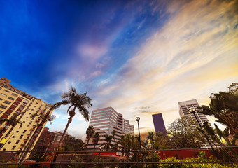 Wall Mural - Colorful sky over Pershing square in downtown Los Angeles
