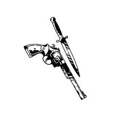 Illustration of a pistol and a knife. Vector. Cold and firearms. Hipster tattoo. The style of the old American school. Items isolated on white background. Outline drawing. Retro, vintage.