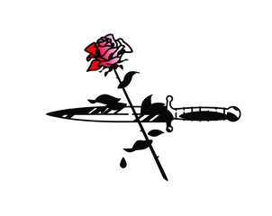Tattoo of a dagger and roses. Vector. Vintage tattoo in the style of the American old school. Image is isolated on white background. Contour drawing. Fashionable tattoo for the mafia. Love and crime.