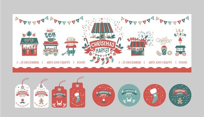 Christmas gift tags and stickers set