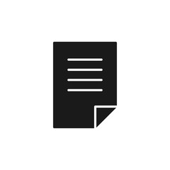 Black isolated icon of document, blank, paper on white background. Silhouette of letter. Flat design.