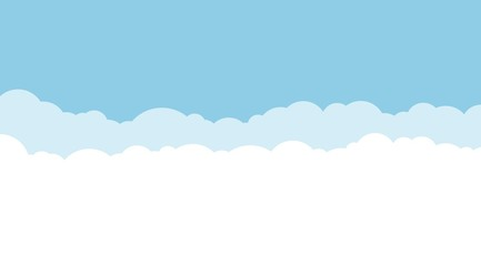 Blue sky and white clouds background. Vector illustration