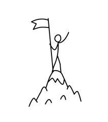 Illustration of a winner at the top of a mountain with a flag. Vector. Conquer the mountain. Metaphor. Linear style. Illustration for website or poster. Conquest of Everest.