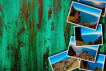 Photo collage on wooden background. View of the sea coast, mountain ranges. The concept of tourism. With copy space.