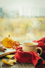 Autumn tea with scarf and leaves in front of window, copy space