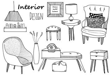Creative design furniture set. Interior design