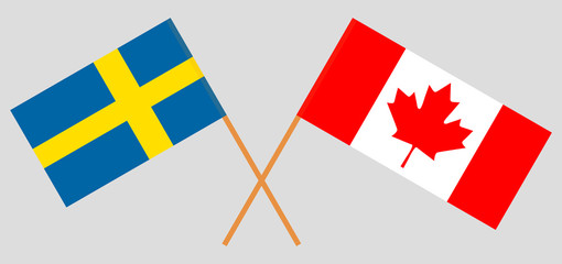 Sweden and Canada. The Swedish and Canadian flags. Official colors. Correct proportion. Vector