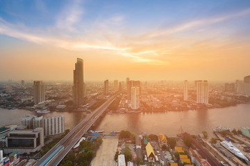 Aerial view Bangkok city skyline with after sunset sky background, Thailand